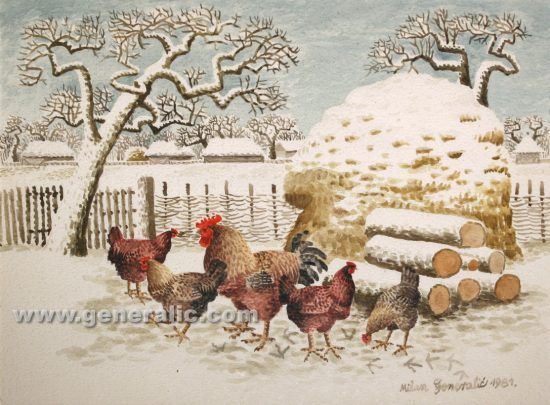 Milan Generalic (1950-2015), Chickens, water-colour, 1981, 30x40 cm, 200 eur