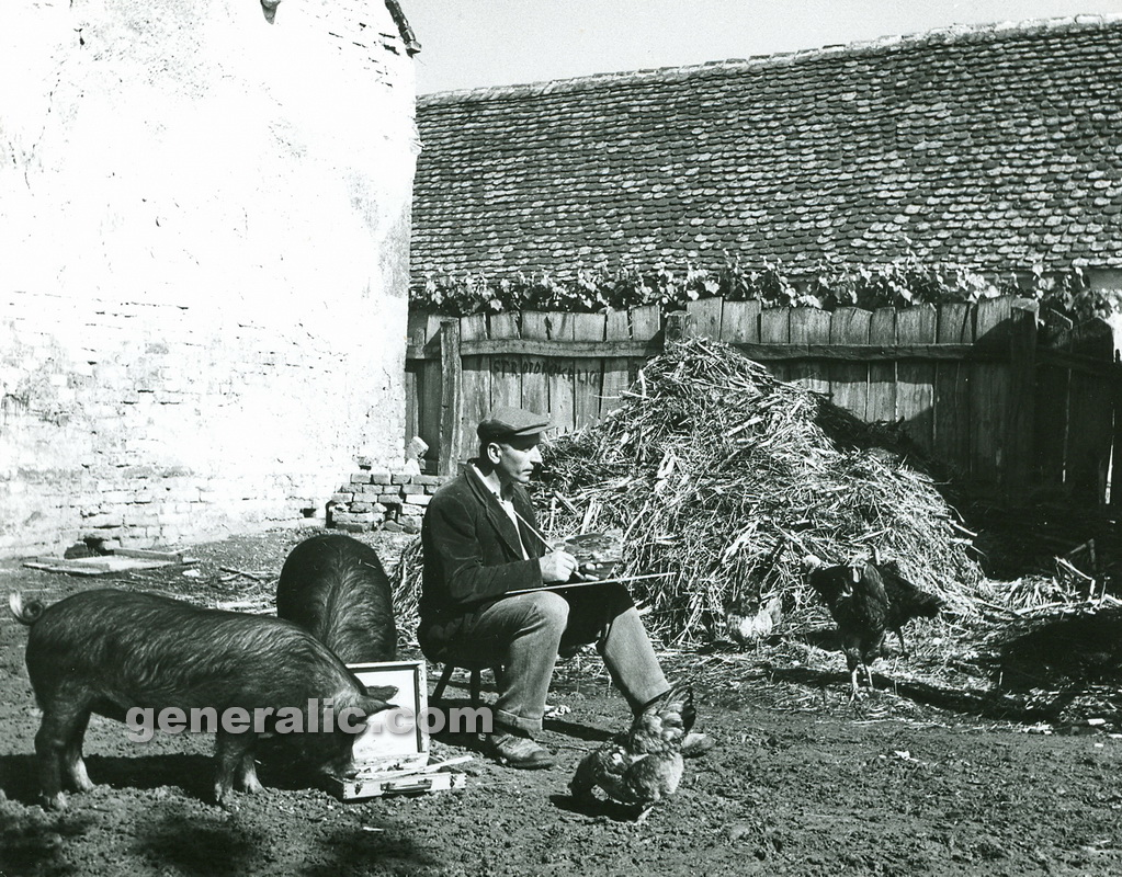 _550000 Ivan Generalic and pigs eating oil colours, Hlebine 1953, photo Milan Pavic (2)