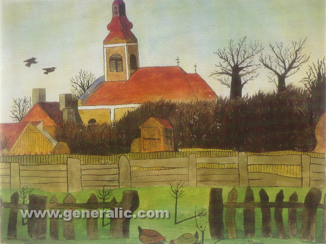 Ivan Generalic, 1931, Church in Hlebine, watercolour