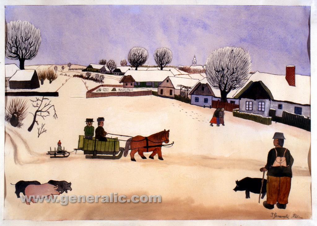 Ivan Generalic, 1931, Winter in Hlebine, watercolour, 43x60 cm