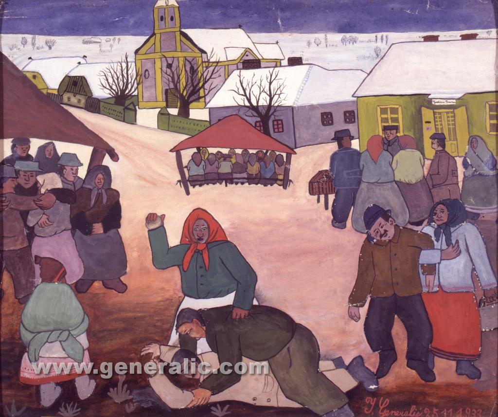 Ivan Generalic, 1933, Brawl at fair, watercolour, 29x34 cm