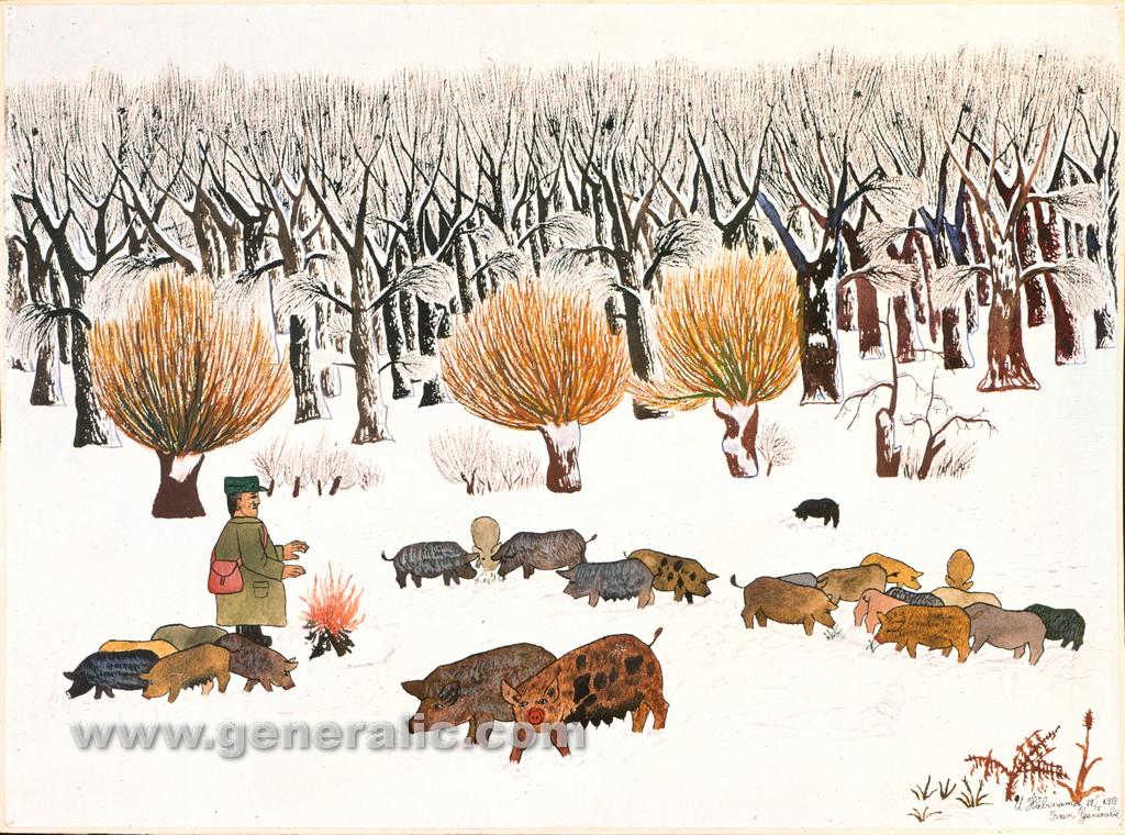 Ivan Generalic, 1933, Swineherd, watercolour, 43x59 cm
