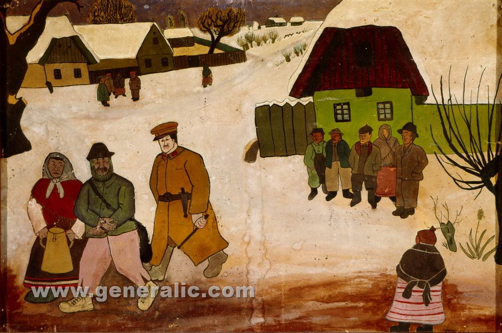Ivan Generalic, 1934, Chicken thief, watercolour, 40x60 cm