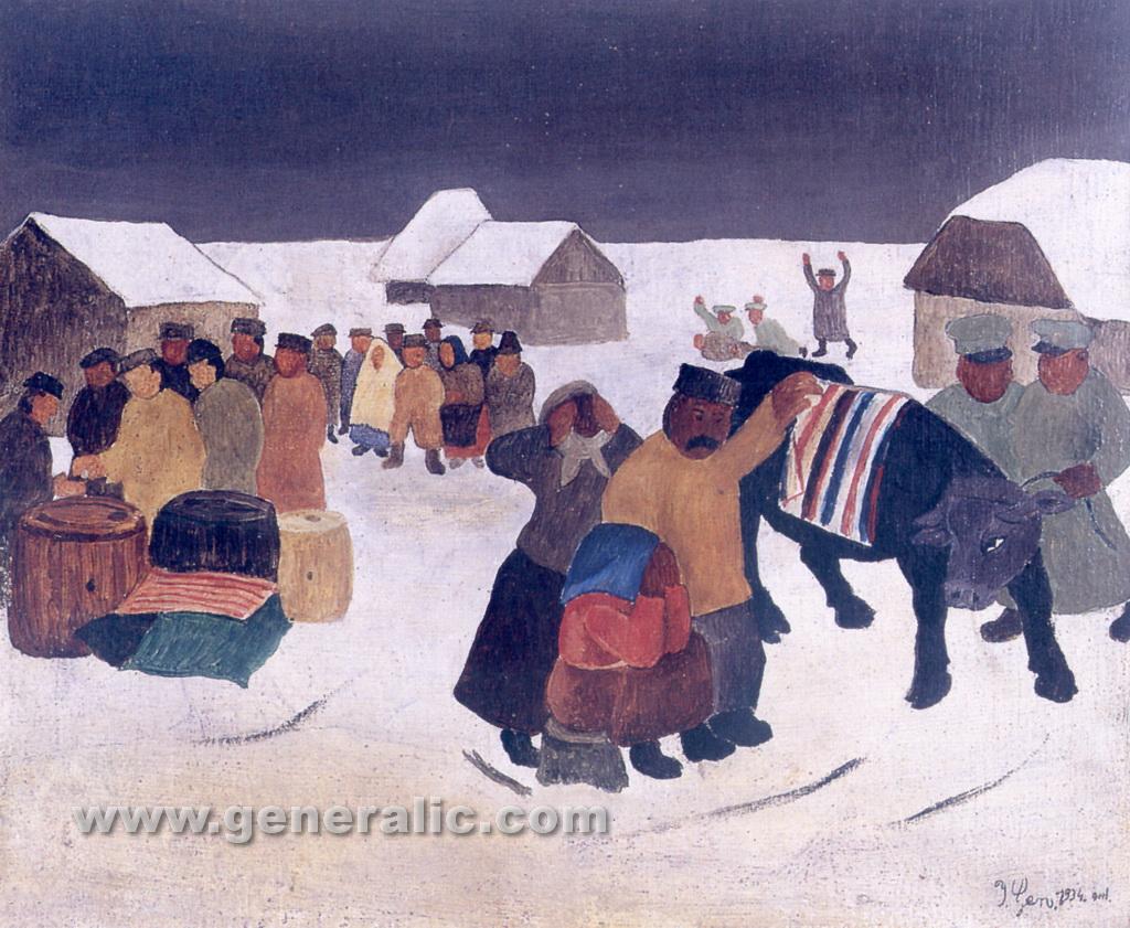 Ivan Generalic, 1934, Requisition, oil on plywood, 35x43 cm
