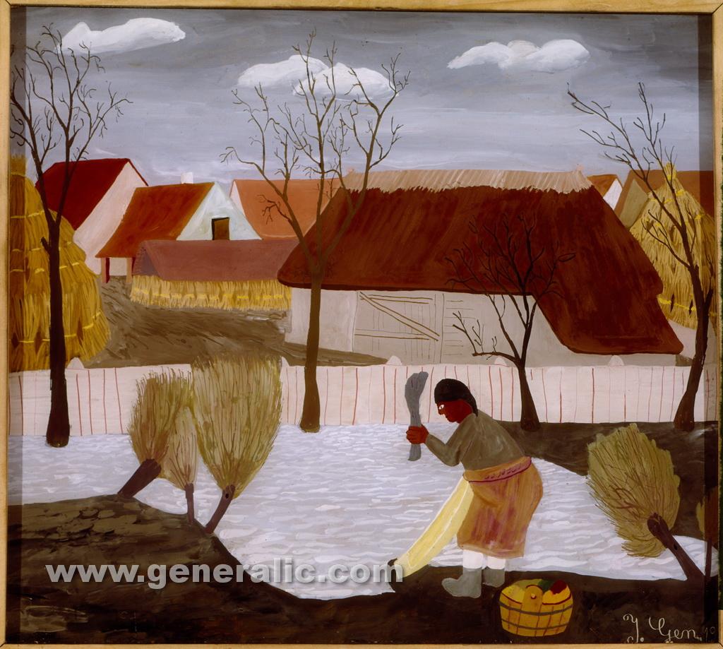Ivan Generalic, 1935, Washerwoman, oil on glass, 28x33 cm