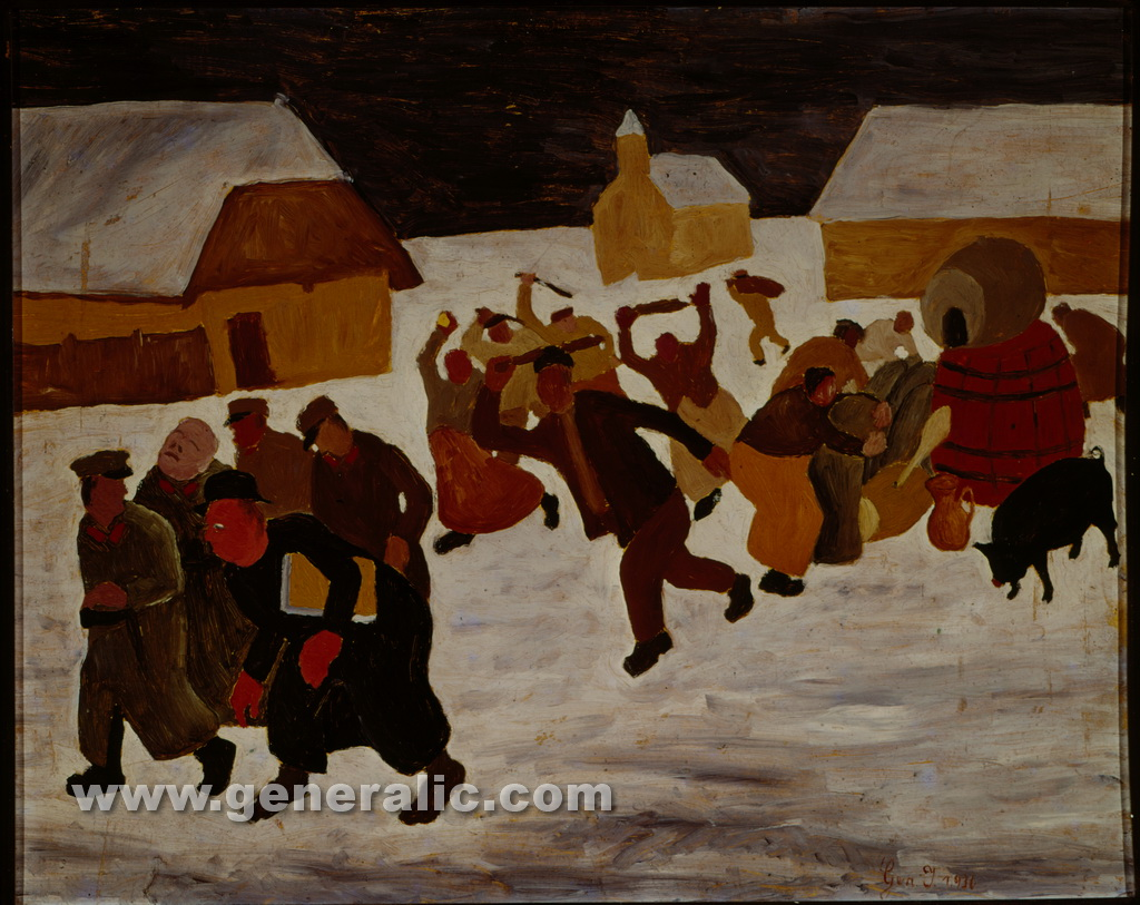 Ivan Generalic, 1936, Djelekovec rebellion, oil on cardboard, 52x64 cm