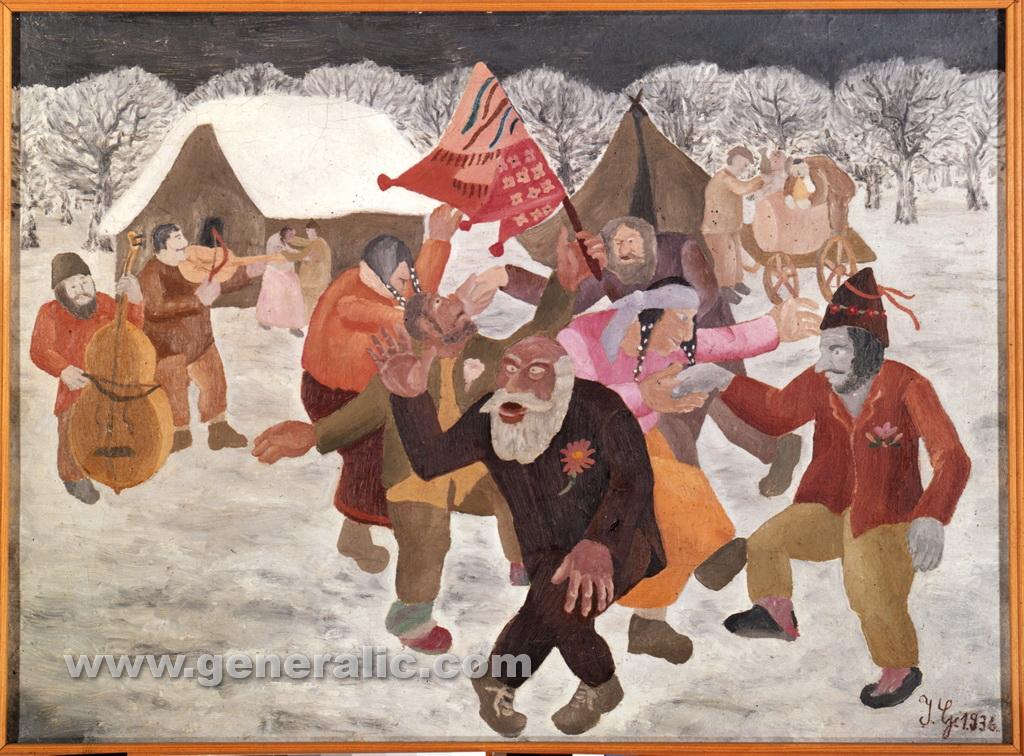 Ivan Generalic, 1936, Gypsy wedding, oil on canvas, 39x54 cm