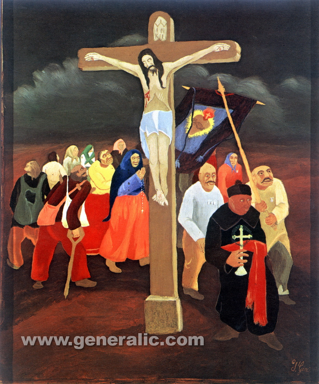 Ivan Generalic, 1937, Procession by the cross, oil on canvas, 56x46 cm