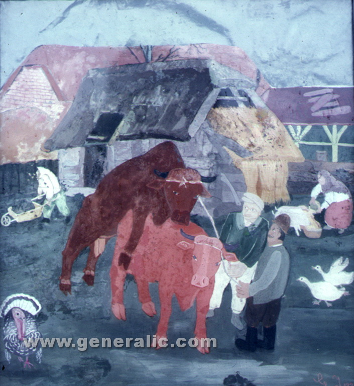 Ivan Generalic, 1937, Servicing the cow, tempera on glass