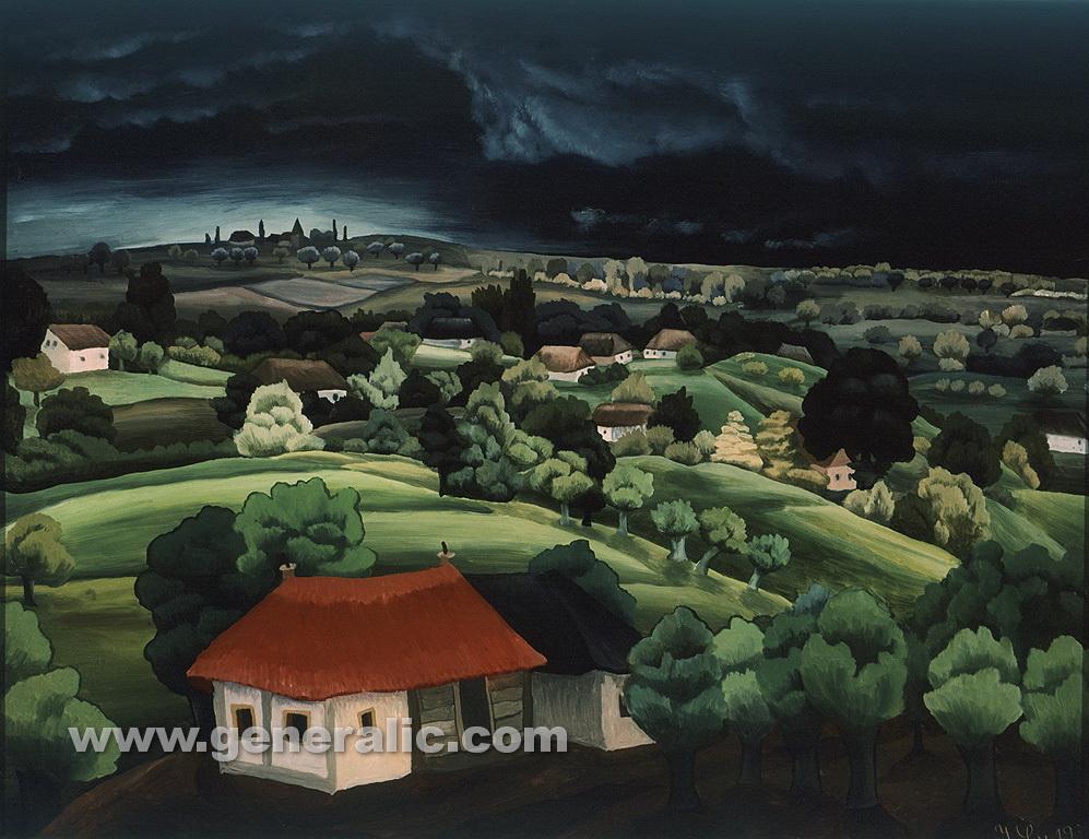 Ivan Generalic, 1939, Landscape, oil on glass, 31x41 cm