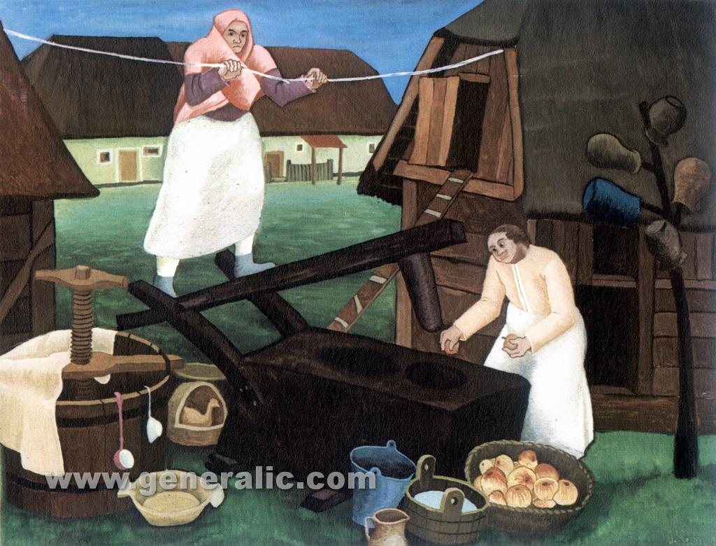 Ivan Generalic, 1940, Women making must, oil on glass, 31x40 cm