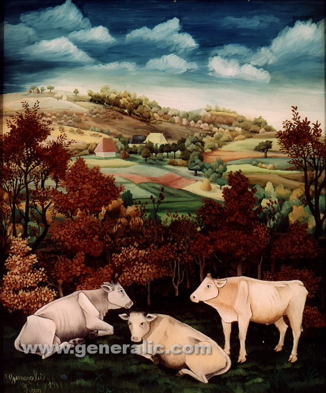Ivan Generalic, 1942, Cows, oil on glass