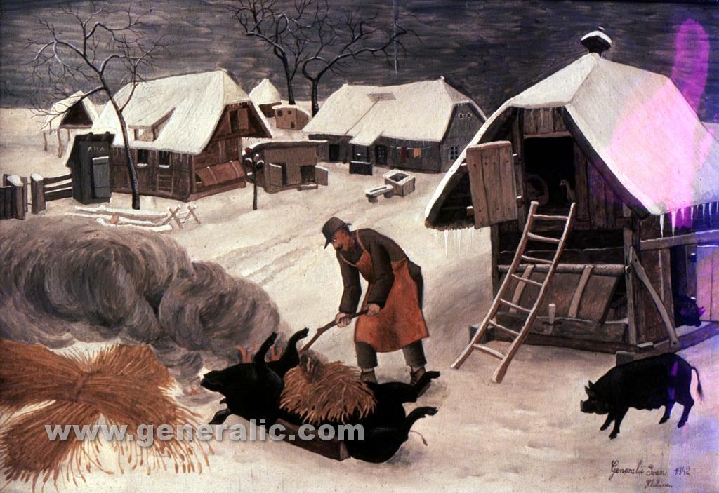 Ivan Generalic, 1942, Singeing a pig, oil on canvas