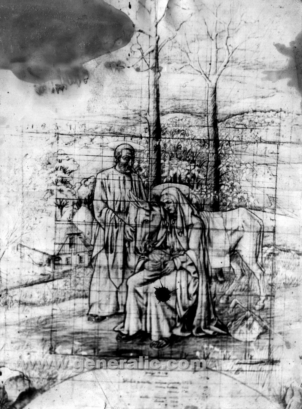 Ivan Generalic, 1943, Flight into Egypt, pencil on paper (landscape only)