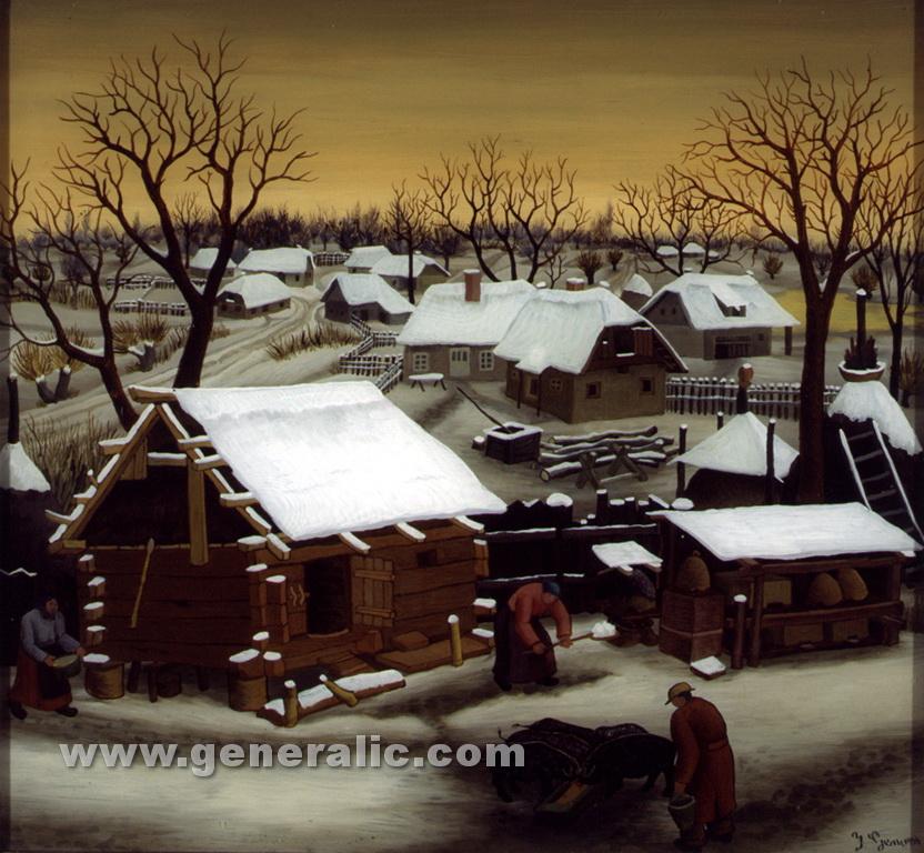 Ivan Generalic, 1944, Winter, oil on glass, 35x38 cm