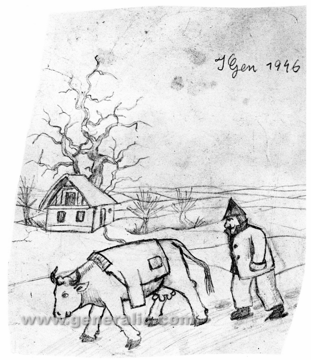 Ivan Generalic, 1946, Peasant with a cow, drawing
