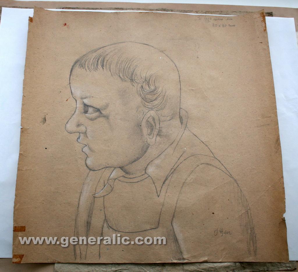 Ivan Generalic, 1952, A portrait, drawing, 80x80 cm
