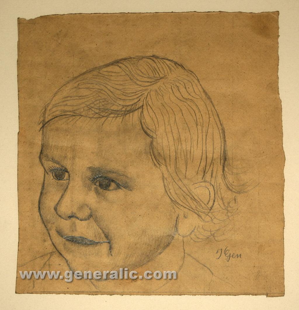 Ivan Generalic, 1952, Portrait of a girl, drawing, 32x30 cm
