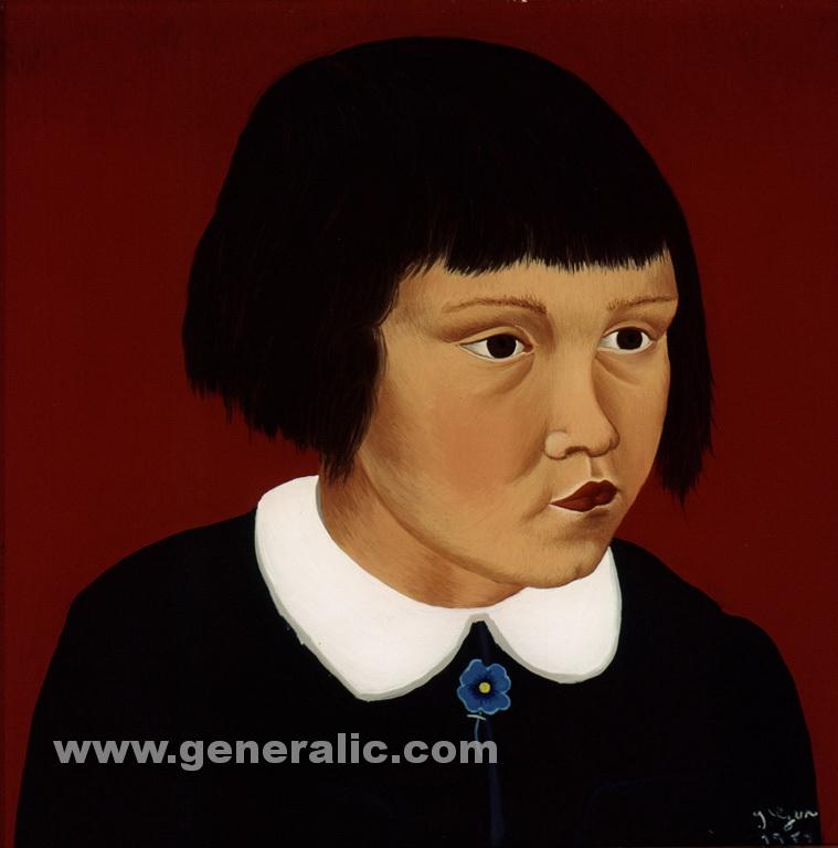 Ivan Generalic, 1953, Portrait of a girl, oil on glass