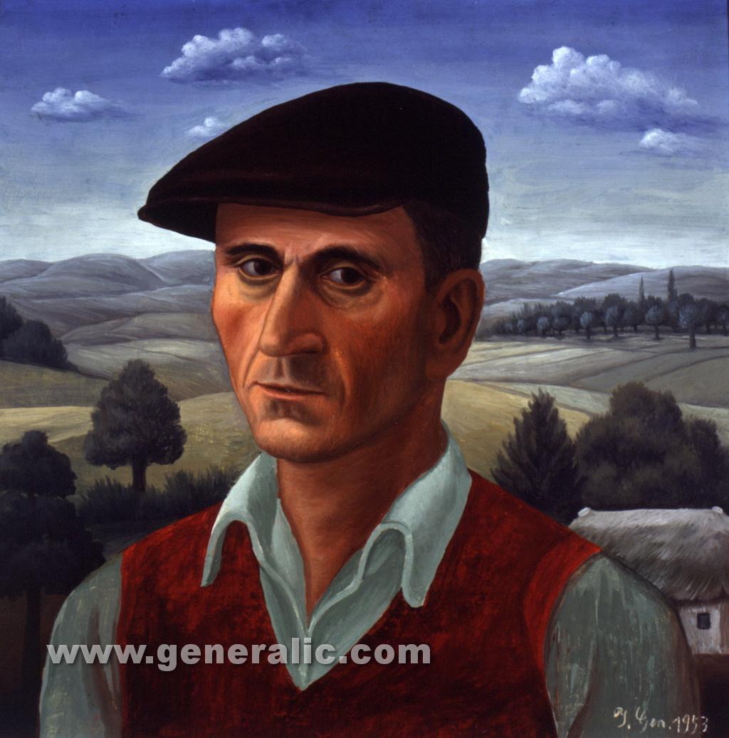 Ivan Generalic, 1953,Self portrait, oil on hardboard, 42x41 cm