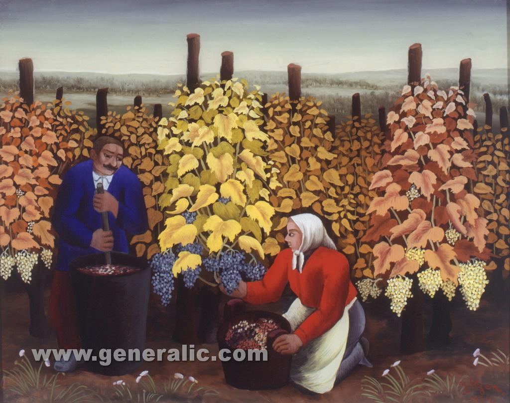 Ivan Generalic, 1954, Grape picking, oil on glass, 35x46 cm