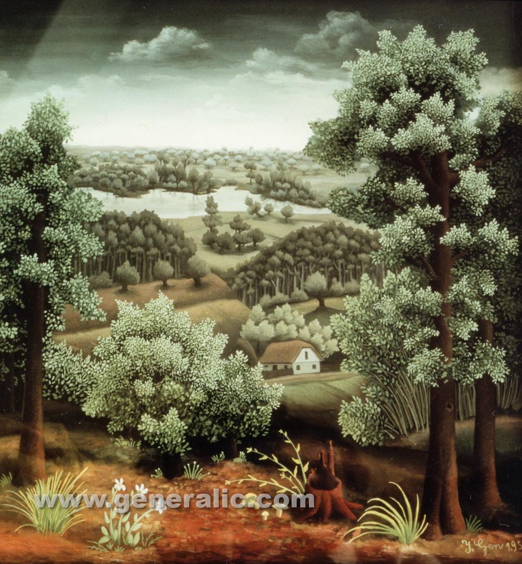 Ivan Generalic, 1954, Landscape, oil on glass, 50x49 cm