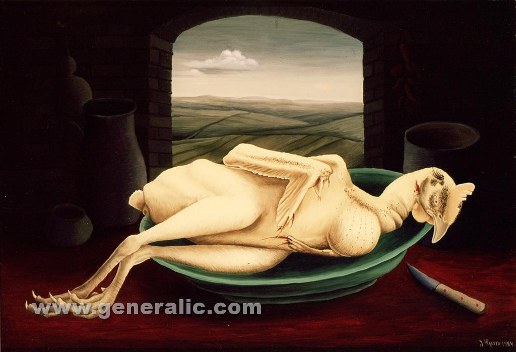 Ivan Generalic, 1954, Plucked cock, oil on glass, 36x52 cm