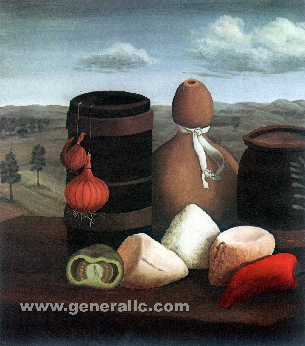 Ivan Generalic, 1954, Still life with gourd, oil on glass, 43x44 cm