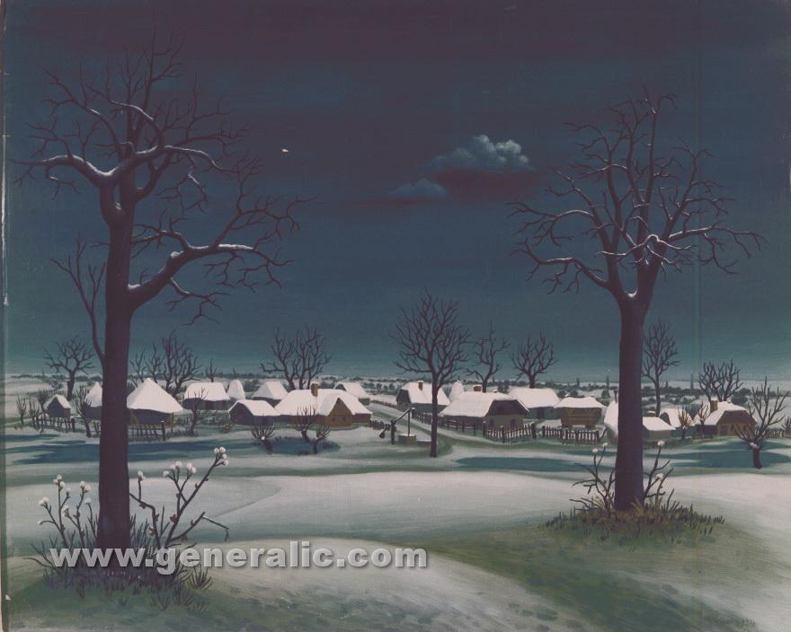 Ivan Generalic, 1954, Winter day, oil on glass