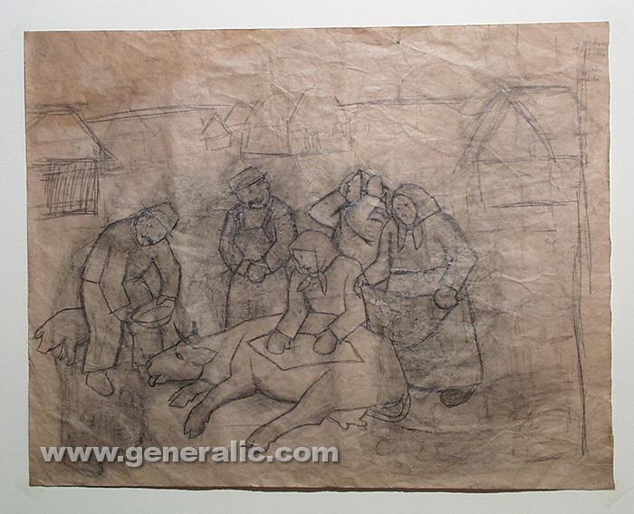 Ivan Generalic, 1955, Sick cow, pencil on paper, 50x64 cm