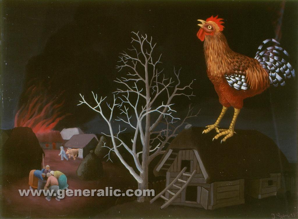 Ivan Generalic, 1956, Fire, oil on glass, 38x52 cm