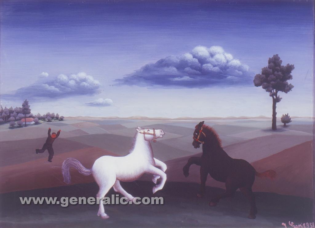 Ivan Generalic, 1956, Horses at play, oil on glass, 30x41 cm