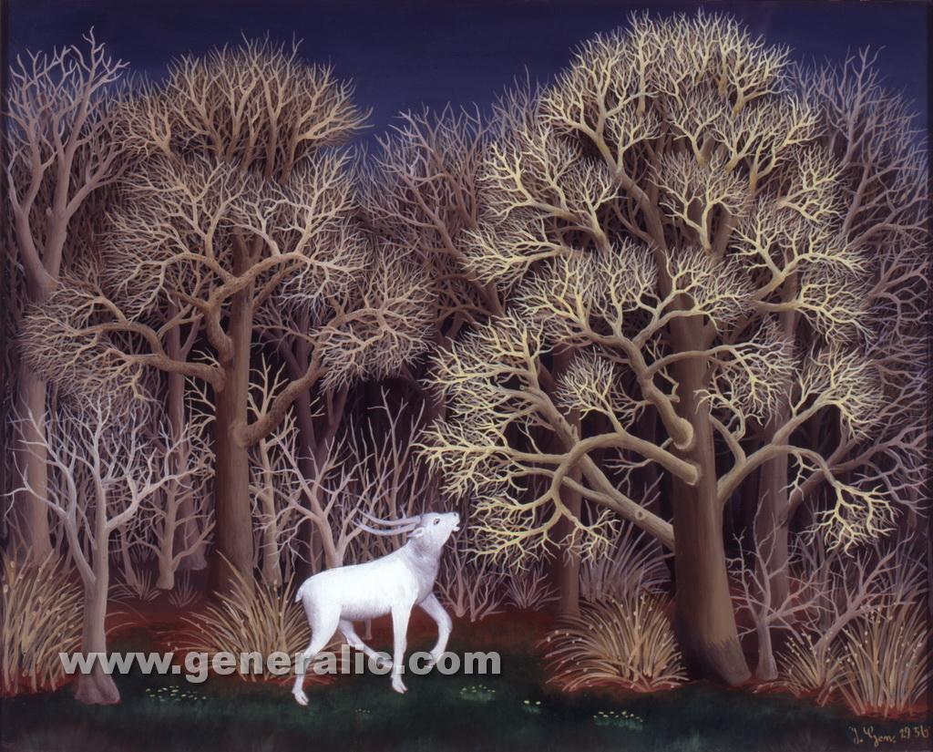 Ivan Generalic, 1956, White deer, oil on glass, 50x60 cm