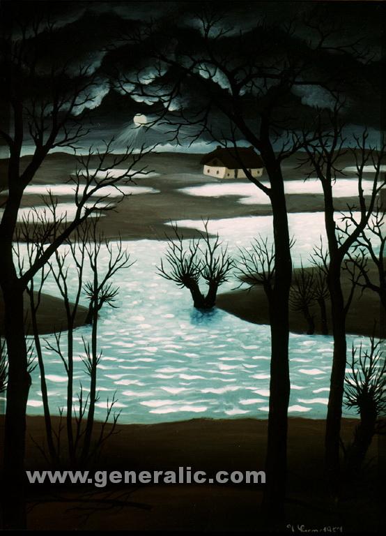 Ivan Generalic, 1957, Dead waters, oil on glass, 46x34 cm