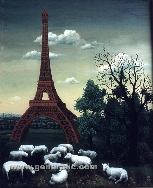 Ivan Generalic, 1957, My Paris, oil on glass, 38x48 cm