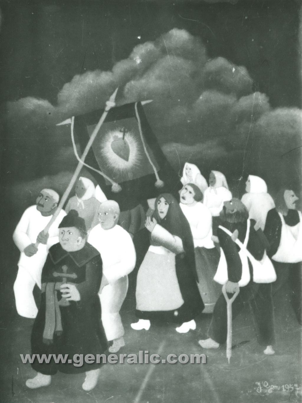 Ivan Generalic, 1957, Procession, oil on glass, 35x45 cm