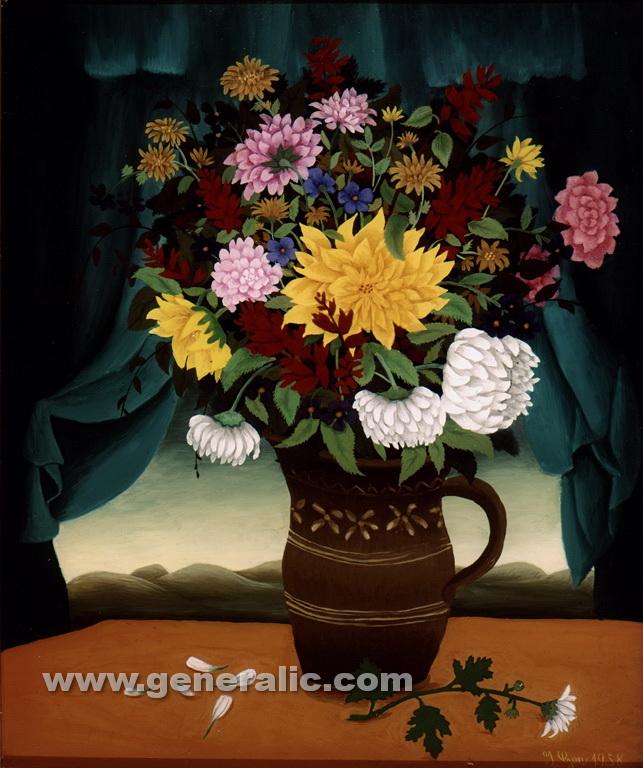 Ivan Generalic, 1958, Flowers on a desk, oil on glass