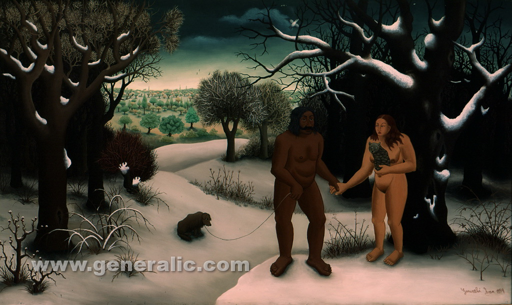 Ivan Generalic, 1959, Adam and Eve, oil on glass, 121x72 cm