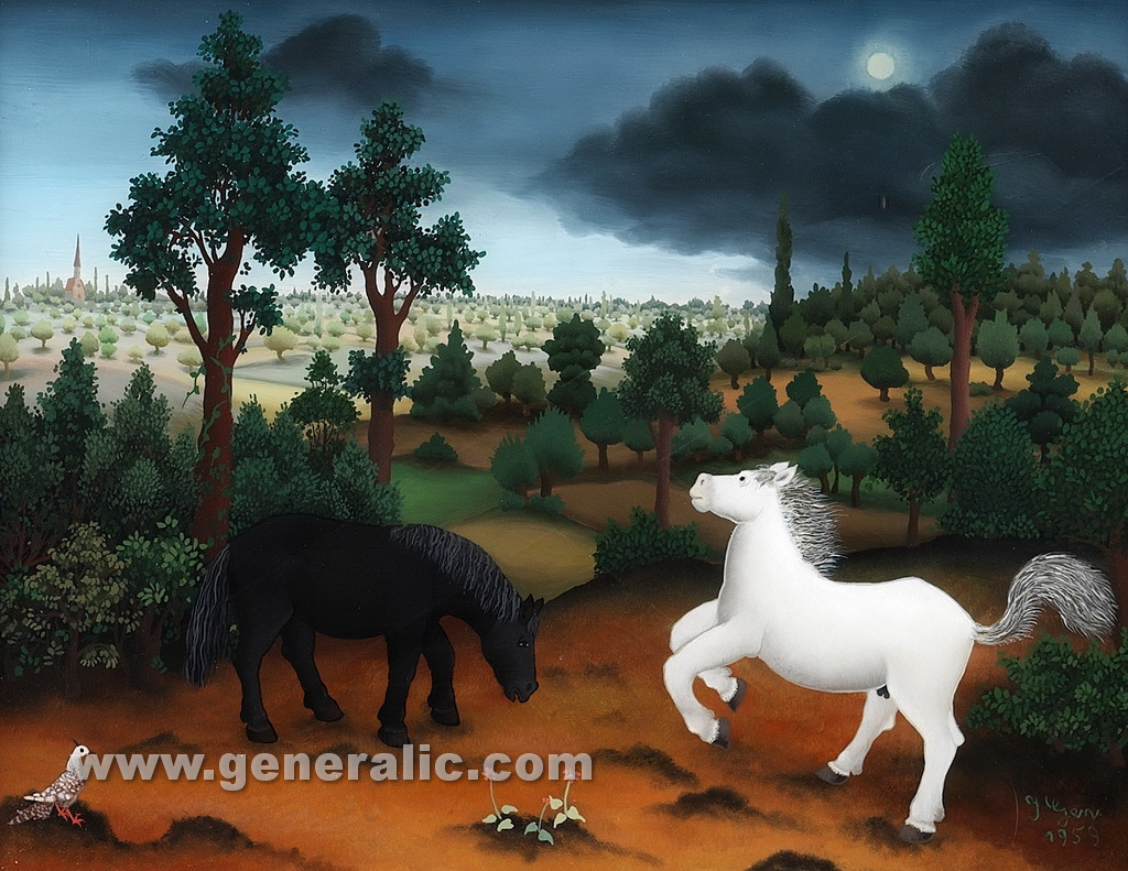 Ivan Generalic, 1959, Black and white horse, oil on glass