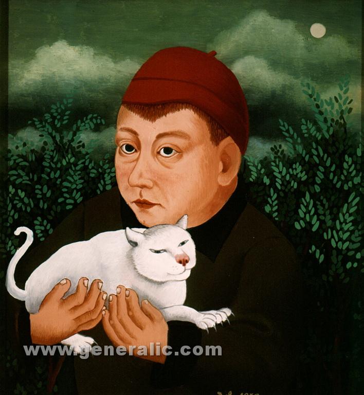 Ivan Generalic, 1959, Boy with cat, oil on glass, 30x33 cm