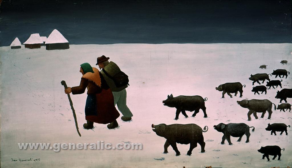 Ivan Generalic, 1959, Swineherds going home, oil on panel, 70x120 cm