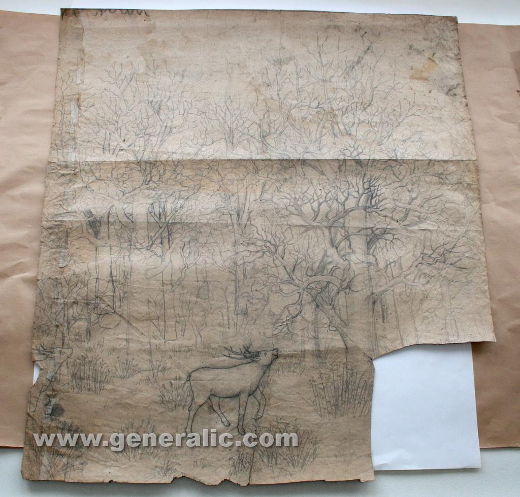 Ivan Generalic, 1959, The deer wedding, drawing piece, 94x85 cm