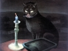 Ivan Generalic, 1954, Cat by candlelight, oil on glass, 42x36 cm