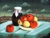 Ivan Generalic, 1956, Still life with apples, oil on glass, 54x54 cm
