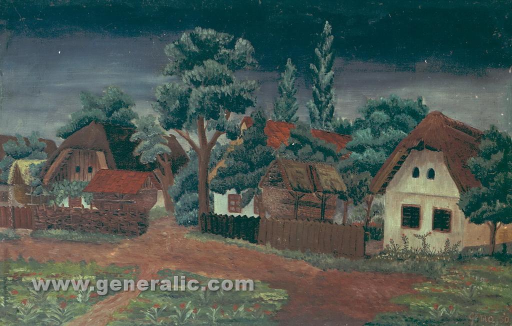 Josip Generalic, 1950, Village, oil on canvas