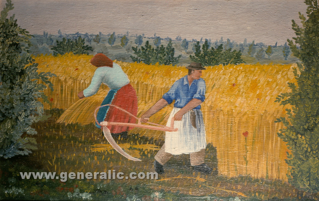 Josip Generalic, 1955, Mowing the hay, oil on canvas