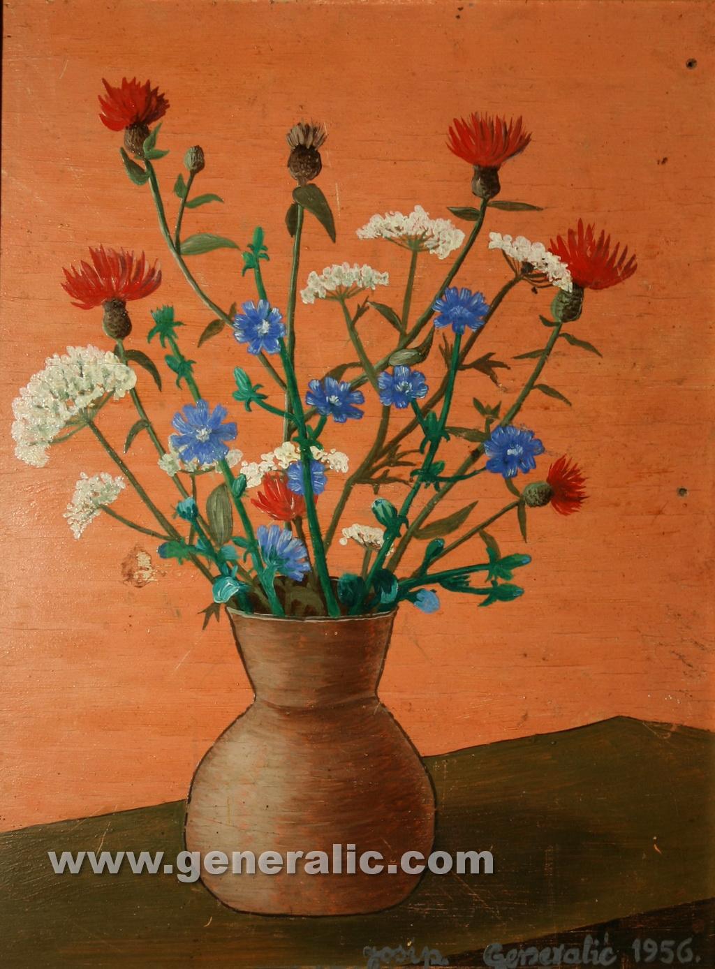 Josip Generalic, 1956, Flowers, oil on wood, 36x28 cm