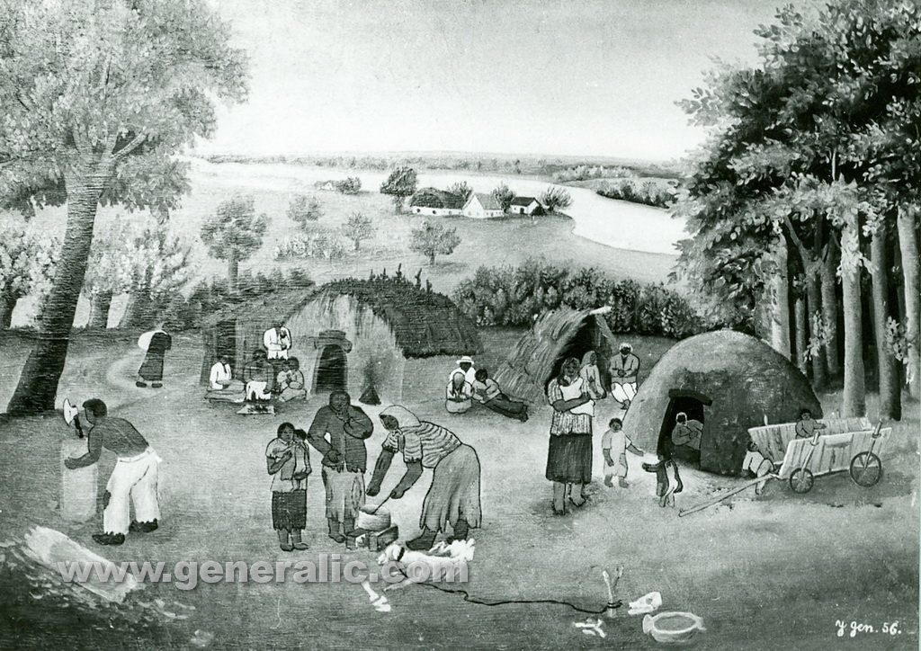 Josip Generalic, 1956, Gypsies in forest, oil on canvas