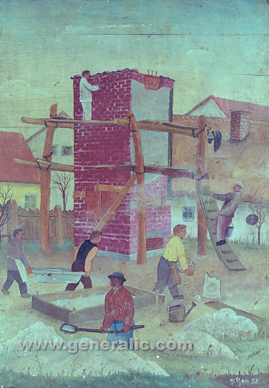 Josip Generalic, 1958, Building a house, oil on wood
