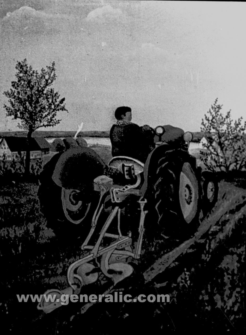 Josip Generalic, 1958, Plowing, oil on canvas